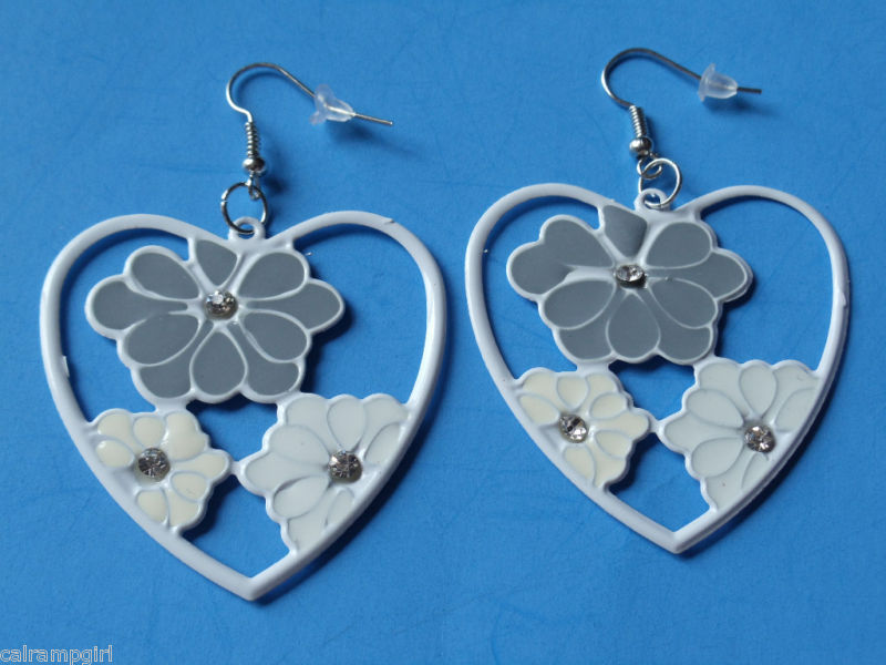 "2"" Gray White Heart Metal Flower Earrings Plumeria"