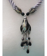 Chico's Necklace Flower Pendant Crystals Black ... - $34.64