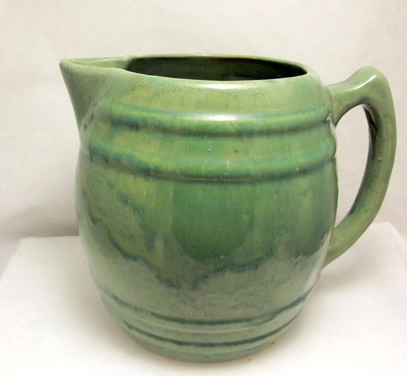 Vintage McCoy Pottery barrel pitcher 1920s green drip glaze USA - McCoy