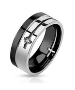 Men's Stainless Steel Cz Wedding Ring Band - $15.99