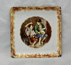 Antique Enamel on Metal Tray Pheasant Boys eati... - $24.75