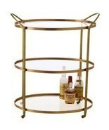 BRASS & GLASS OVAL Bar Cart with Wheels, MID CE... - $1,479.00