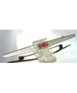 Victorian Sterling Guilloche Enamel Brooch Pin ... - $37.00