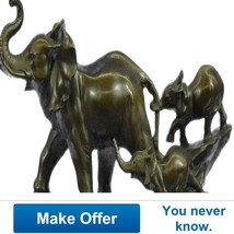 Signed Barye Beautiful Family Elephants Walking... - $399.00