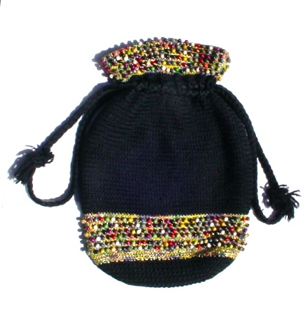 Vintage Black Crochet Purse with Multicolor Wooden Beads Drawstring Boho Bag