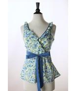 Anthropologie Viola Blue Green Flower Petals Sa... - $17.37