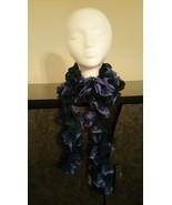 Blue & Purple Ruffle Crochet Scarf - $30.00