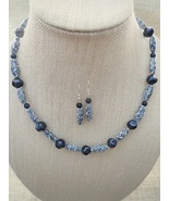 Navy and White Ceramic Necklace and Earrings Ha... - $38.99