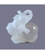Elephant Figurine Trunk Up White Frosted Lucite... - $12.95