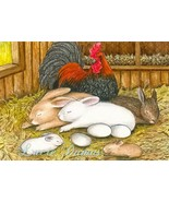 ACEO art print Hare 25 rooster rabbit LE by Luc... - $4.99