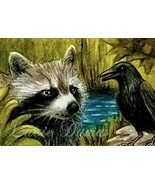 ACEO art print Raccoon #5 crow raven by L.Dumas - $4.99