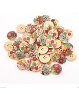 60x Lots Round Shape Wood Flowers Sewing Button... - $3.26