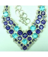 Faceted Ice Blue Topaz Squares + Purple Amethys... - $296.52