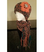 Peach and Green  Handmade  Hat & Scarf Set - $50.00