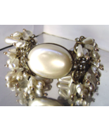 Vintage Filigree Bracelet Dangling Pearls Glass... - $72.00