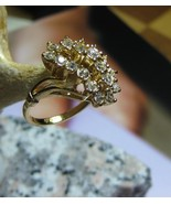 1970's Cluster Ring Cocktail Sparkle Yellow Gol... - $38.00