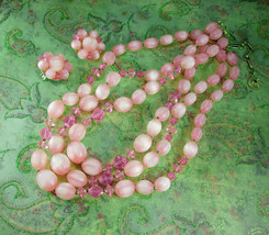 PINK Lisner Necklace UNUSUAL stripe beads with ... - $55.00
