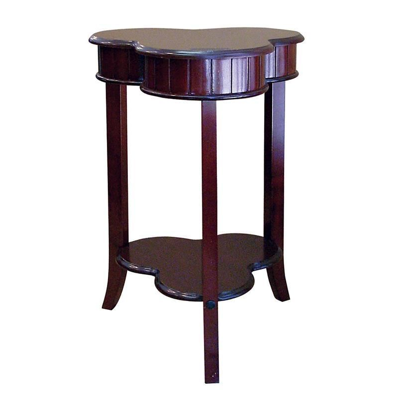 Shamrock shaped sofa end accent table in dark cherry for Sofa end tables