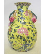 Yellow Majolica Ceramic Vase Andrea by Sadek - $123.74
