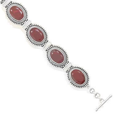Oval Faceted, Rough-Cut Ruby With Bead Design Bracelet