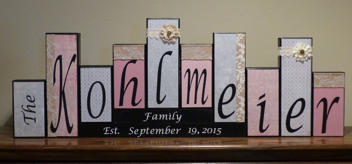family block letters home decor burlap and lace wood block mantel