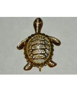 Vintage Brooch Turtle Goldtone Mini Rhinestones - $15.00