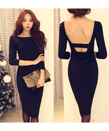 Feminine Backless Black Sheath Dress. Cocktail ... - $88.90