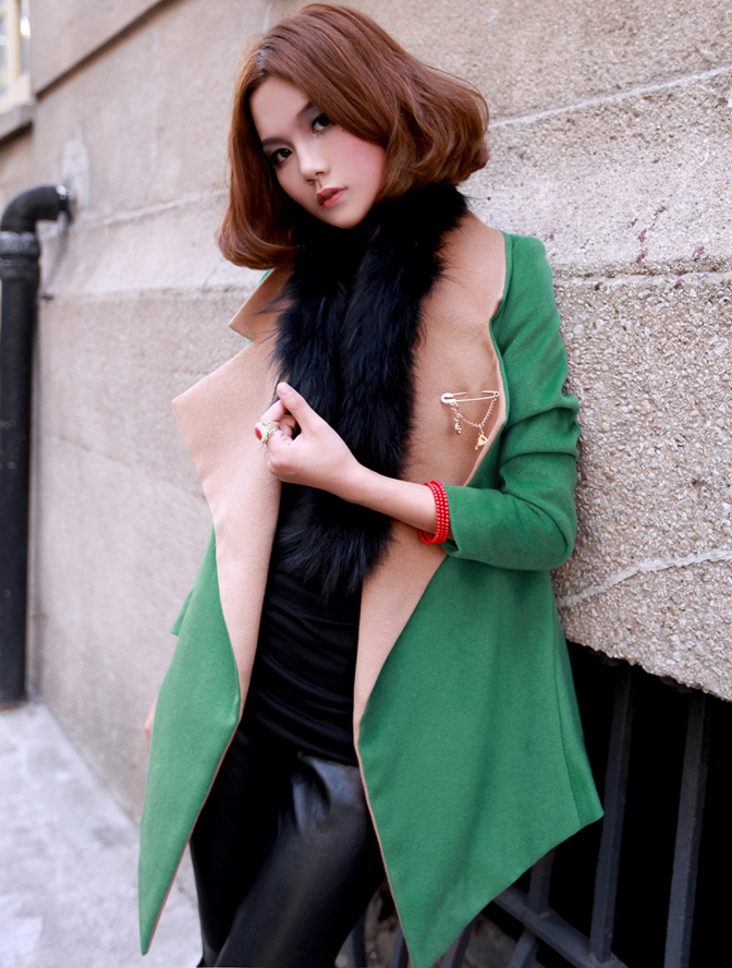 Woolen short coat for cool seasons  green