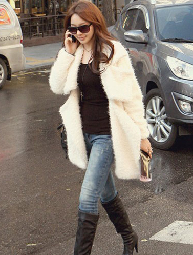 Ivory white color furry coat