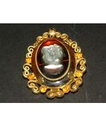 Vintage Cameo Brooch Pendant Gold Tone Celebrit... - $35.00