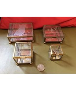 Vintage lot Glass mirror Brass Jewelry Trinket ... - $39.99