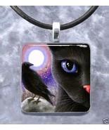 Handmade Glass Pendant Necklace 1x1 black Cat 5... - $14.00