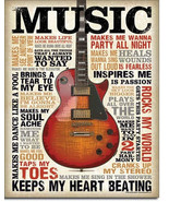 Music Inspires Me Guitar Tin Metal Sign - $16.50