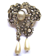 Vintage Hollycraft Brooch Clear Rhinestone Pear... - $36.00