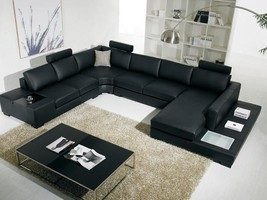 T35 Black Leather Living Room Sectional Sofa with headrests