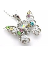 Butterfly Pendant Necklace Woman's Silver Chain... - $13.83