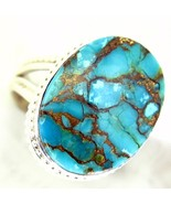 Blue Copper Turquoise Oval cabochon Sterling Si... - $67.36