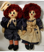 Raggedy Ann and Andy Dolls Pair Cloth Large Old... - $99.00