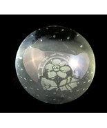 Green Glass Paperweight Etched Flower Floral De... - $12.00