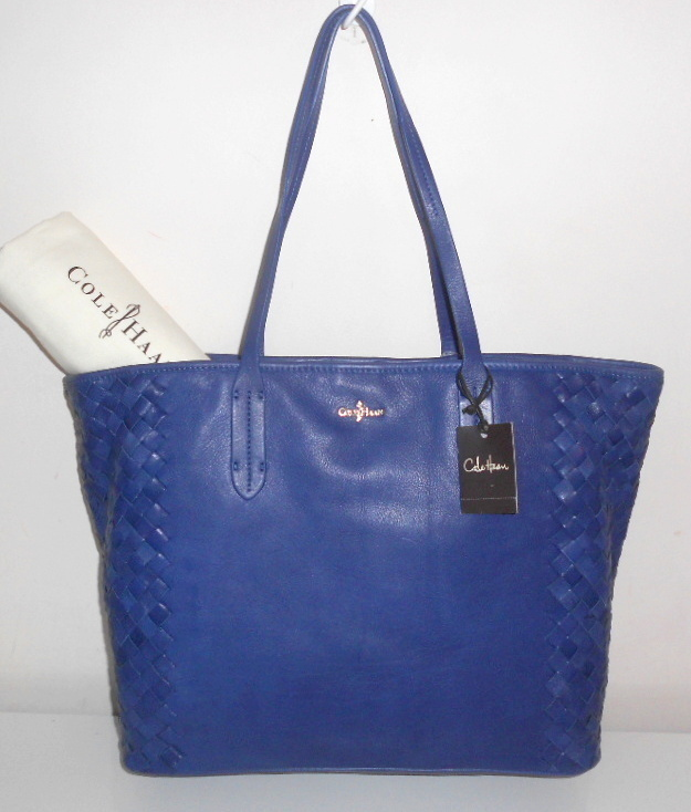 NEW COLE HAAN HANDBAG PACIFIC BLUE LEATHER VICTORIA TOTE WOVEN ACCENTS NWT $278