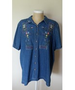 Bobbie Brooks Woman Blue Jean Shirt with Flower... - $14.99