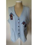 Gloria Vanderbilt Blue Jean Vest Top with Birdh... - $17.97