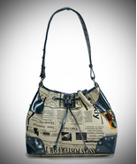 Cloth Newspaper Print Bag with Color Art (Navy,... - $22.99