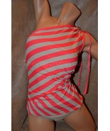 NWT 2PC DKNY L 12 14  One Shoulder Stripe Tanki... - $58.99