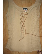 Ladies Beige Size L Sweater Vest Suade Tie Up F... - $16.99