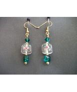 Czech Lampwork Earrings with green Swarovski beads - $20.00