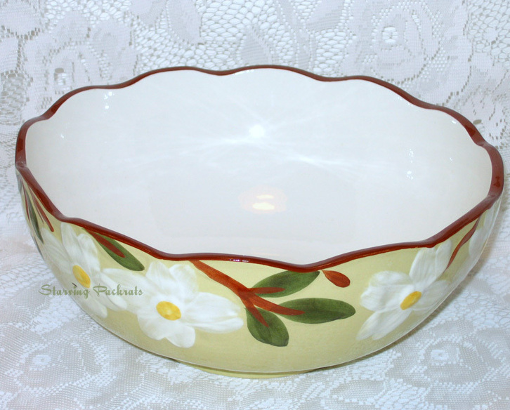 "Stangl Pottery White Dogwood 10"" Salad Serving Bowl"