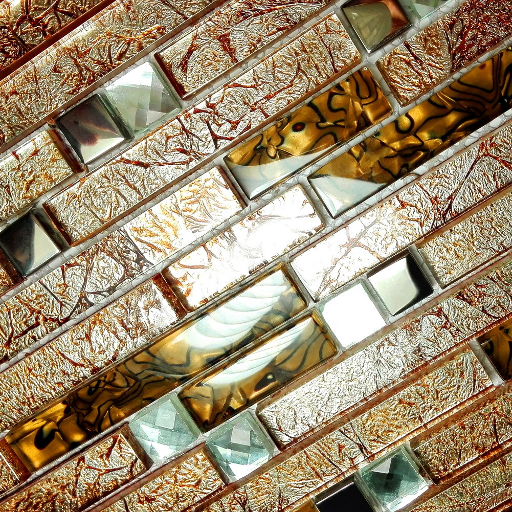 Retro golden 3 dimensional mosaic decorative wall tile for Dimensional tile backsplash