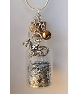 3D Pewter Dragon + Scales Glass Bottle Necklace... - $24.99