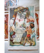 Vintage Set of Illustrations 1981 Soviet USSR C... - $45.00